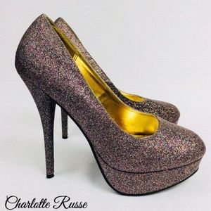 New Charlotte Russe Glitter Platform Pumps Size 6